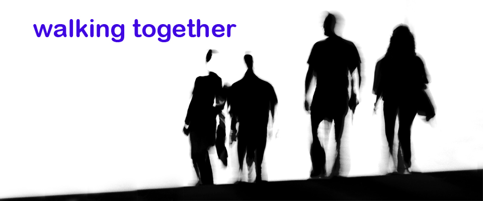 web walking together blue text